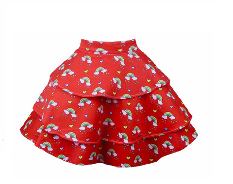 Red Rainbow Retro Rara Hostess Apron. Bright Vibrant Rainbow Print Apron
