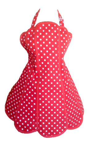 Sale. Deliciously Dotty Retro Red Womens Panel Apron