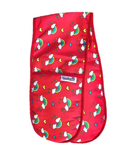 Red rainbow oven gloves