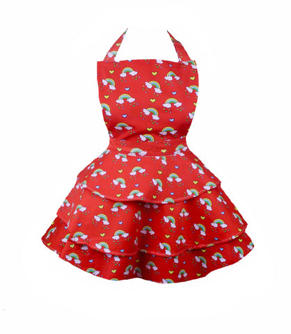 Red rainbow rara retro children's apron