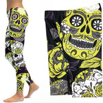 Legging Calavera Jaune | Crâne Nation