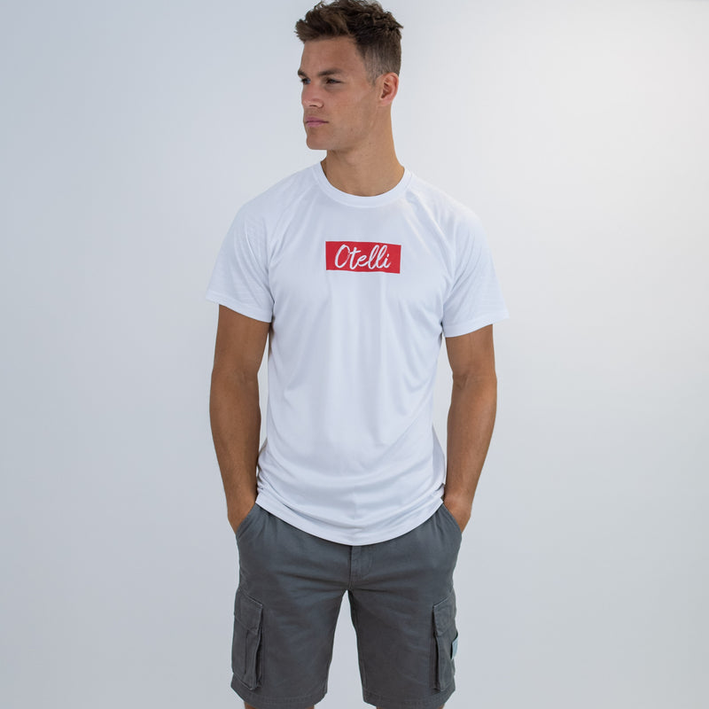 Otelli Inverted White/Red Activewear T-Shirt