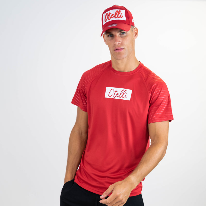 Otelli Progression Fire Red/White Activewear T-Shirt