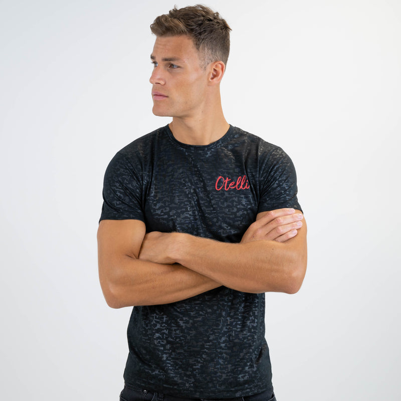 Otelli Progression Charcoal Black/Red Activewear T-Shirt