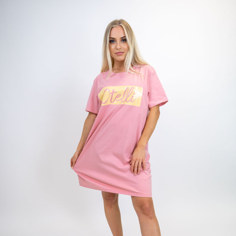 Otelli Inverted Pink/Yellow T-Shirt Dress