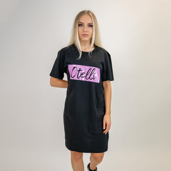 Otelli Inverted Black/Lilac T-Shirt Dress