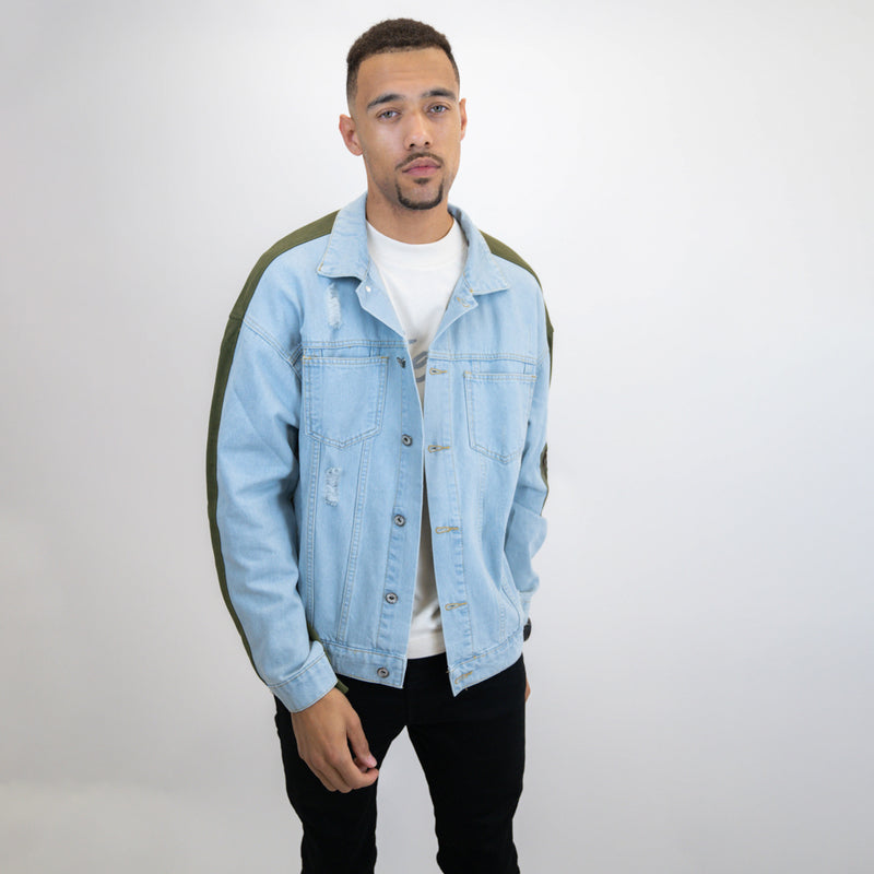 Otelli Distressed Light Blue/Khaki Two-tone Denim Jacket