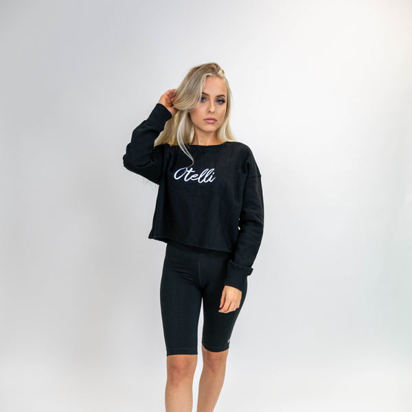 Otelli Classic Black/White Cropped Jumper Sweatshirt
