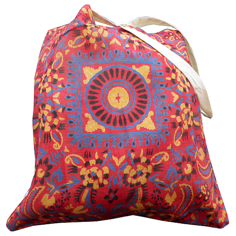 Alpana Silk Shopping Bags Square Design