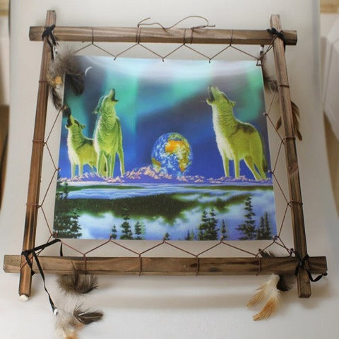 Howling Wolfs 3D Dream Catcher In Frame