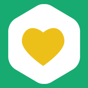 a green background with a white hexagon and yellow heart in the middle. The heart represents our commitment to making drinks better and being better for the environment.