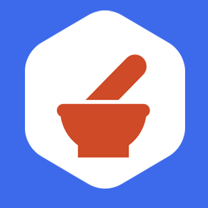 blue background with pestal and mortar and pestle silhouette in red within a white hexagon. This highlights that gnusanté prioritizes science over fabs.