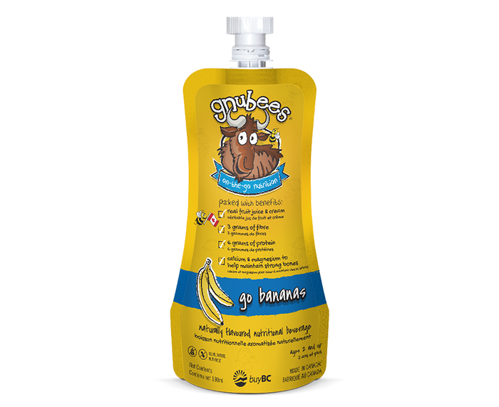 a resealable flexible pouch, gnubees go bananas, bright yellow with blue accents. A cartoon of the gnusante gnu near the top with writing underneath stating on-the-go nutrition and benefits of protein, fibre, real fruit juice and key children nutrients. Net contents 190ml. For age 2 and up