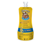 gnubees go bananas in bright playful yellow flexible pouches with the gnusanté gnu cartoon, list of benefits including fribre, protein and calcium