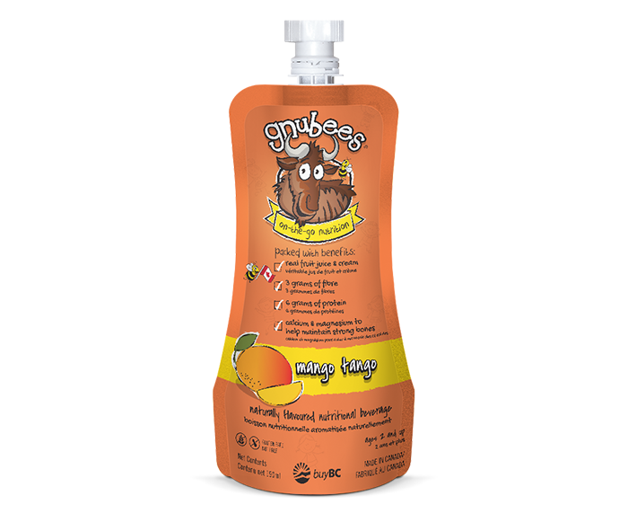 gnubees mango tango flexible pouch in bright mango orange colour. These pouch highlights the numerous benefits including protein, fibre, nutrients, real juice, no gluten and nut free. The pouch includes the cute gnusanté gnu and bumblebee.