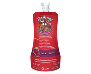 bright red with purple accent flexible pouch with a sealable cap. the gnusante gnu is near the top of the pouch with writing below stating on-the-go nutrition and benefits of fibre and protein, and that it is a naturally flavoured nutritional beverage. Gluten free, nut free. Age 2 and up.