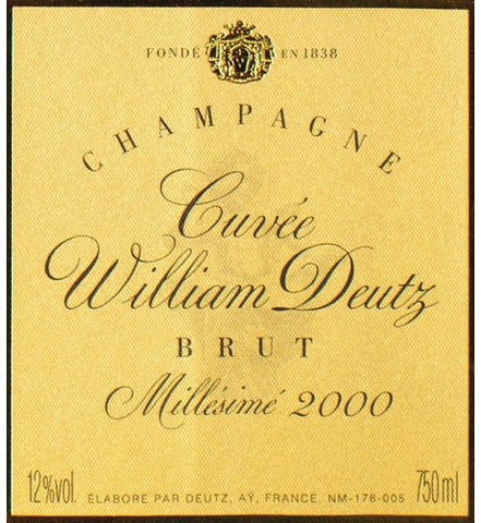 Cuvée William Deutz, Brut, Millésimé 2000