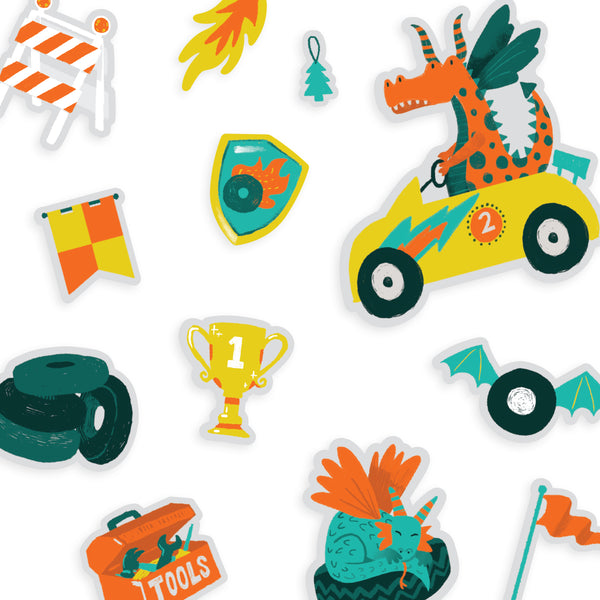 Play Again! Reusable Sticker Scenes: Dragon Race Track