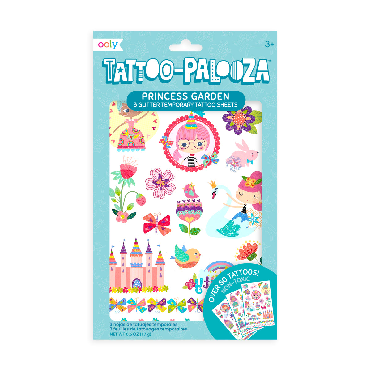Temporary Glitter Tattoos-Princess Garden
