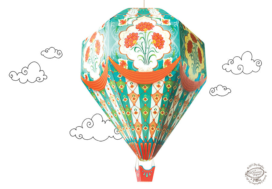 Big DIY Hot Air Balloon Lamp Shade- Blue