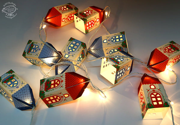 Set of 10 Mini happy home fairy light lampshades (with fairy lights)