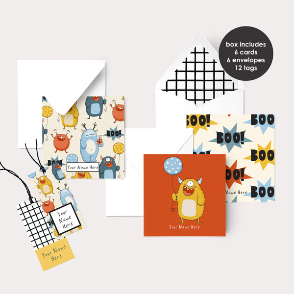 Personalised Gift Cards & Tags - Monsters