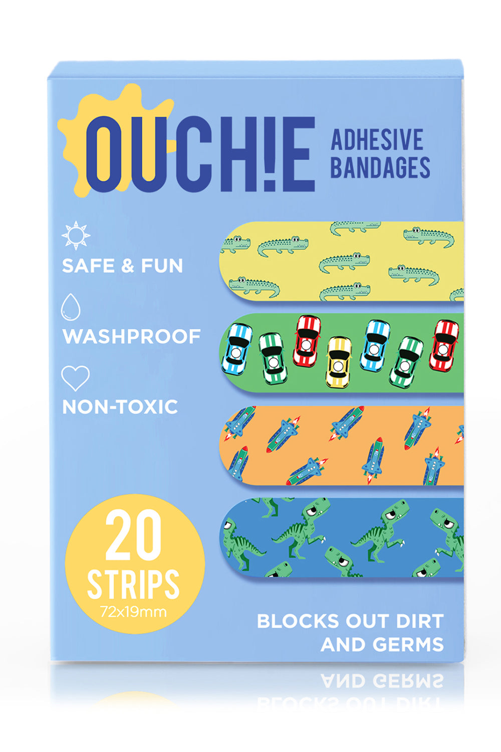 Ouchie Kids Bandages Pack of 20 - Blue