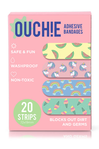 Ouchie Kids Bandages Pack of 20- Pink