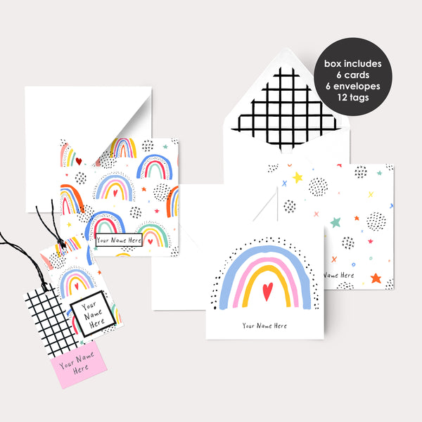 Personalised Gift Cards & Tags - Rainbows