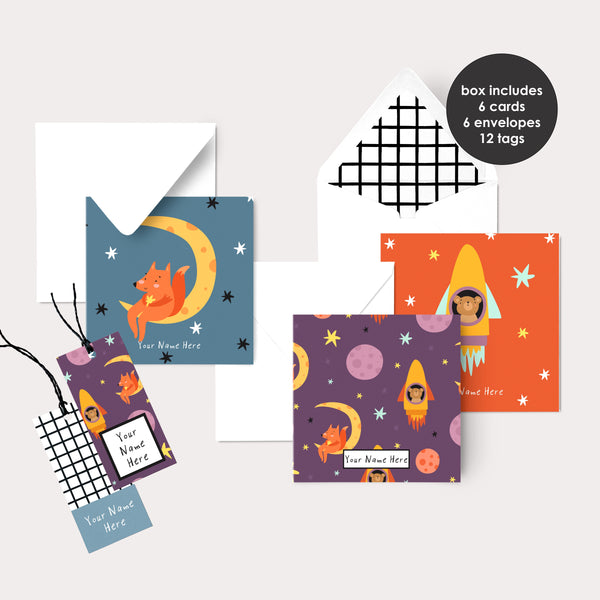 Personalised Gift Cards & Tags - Space