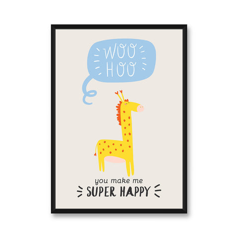 Happy Giraffe - Wall Frame