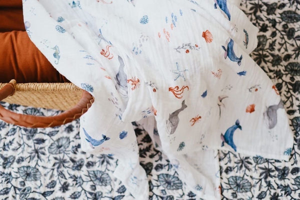 Organic Muslin Swaddle - Under the Sea