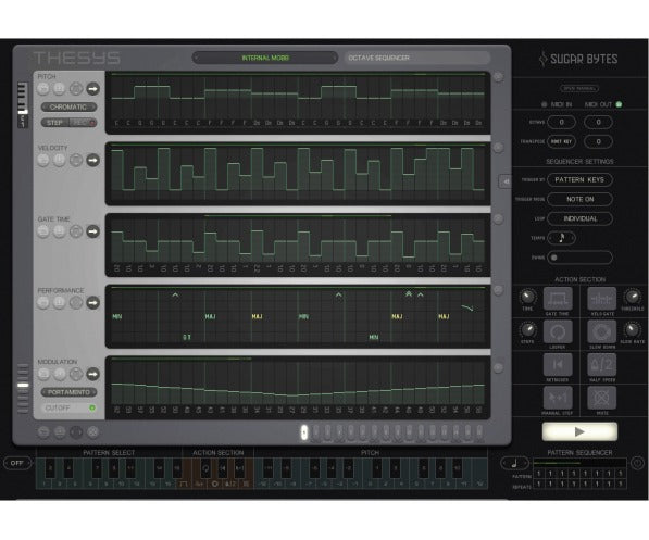 Thesys is an extremely powerful and intuitive MIDI stepsequencer plugin, giving you control over just about all aspects of your favorite MIDI devices.