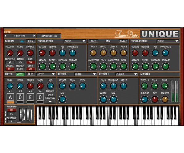 The Unique synthesizer specializes in state-of-the-art vowel sounds and mighty, mighty analog keyboard sounds. With Unique, it takes just a rightclick on a control and complex parameter rides with internal and external controllers become a joyride. And that's what they should be, after all.