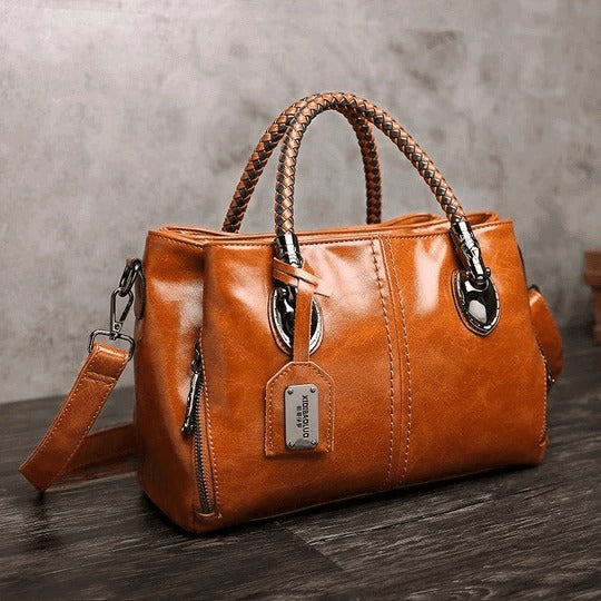 WOMEN CLASSICAL OIL WAX LEATHER MULTI POCKETS TOTE BAG