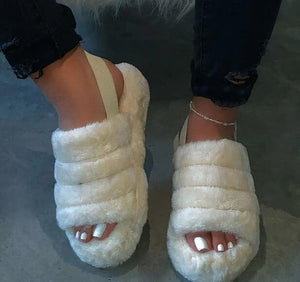 Slippers Women Home Fur Shoes Comfortable Plush Slippers Flats Shoes