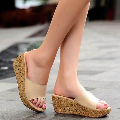 New Women Sandals Summer Leather Slippers Platform Shoes
