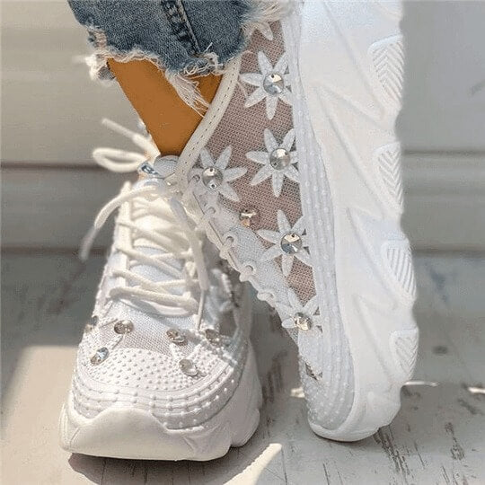 Lilyta™ - WEDDING MESH DIAMANTE TRIM LACE-UP SNEAKERS