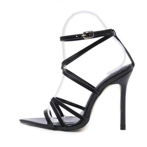 Patent Pointed Strappy Heel