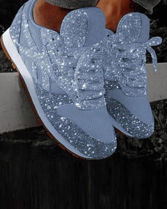 Yearnshoes Glitter Casual Bling Vulcanized Mesh Lace Up Sneakers