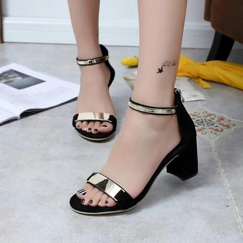 Ladies Metal Decor High Heels Sandals