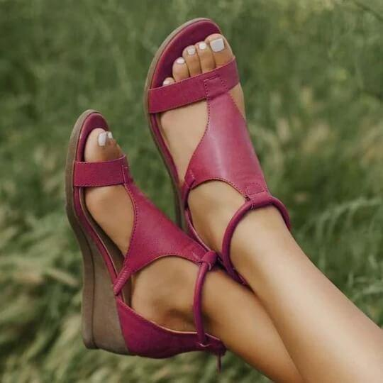 Lilyta™ Deluxe Leather Wedge Sandals