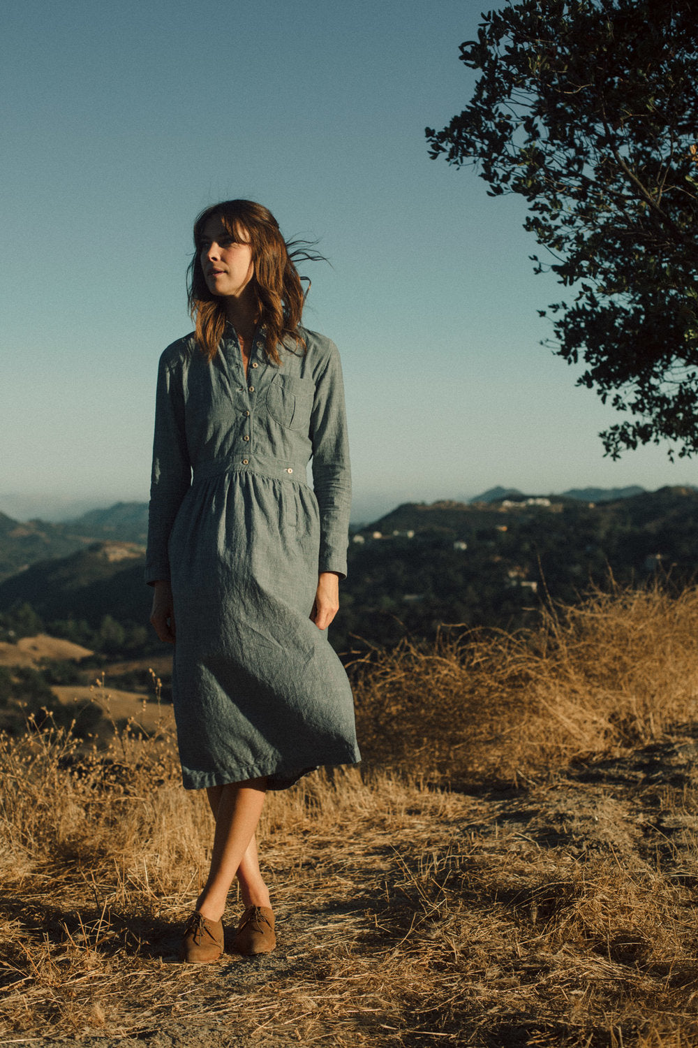 Polly Anne - Chambray Stripe