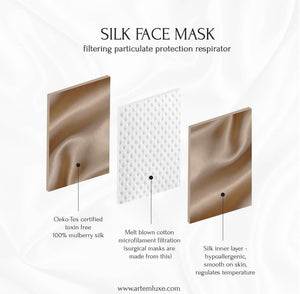 Triple Layer Silk Face Mask - Black