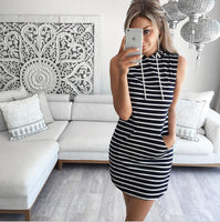 Sleeveless slim hooded dress