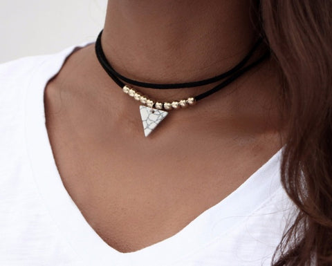 Double Layer Beaded Triangle Necklace