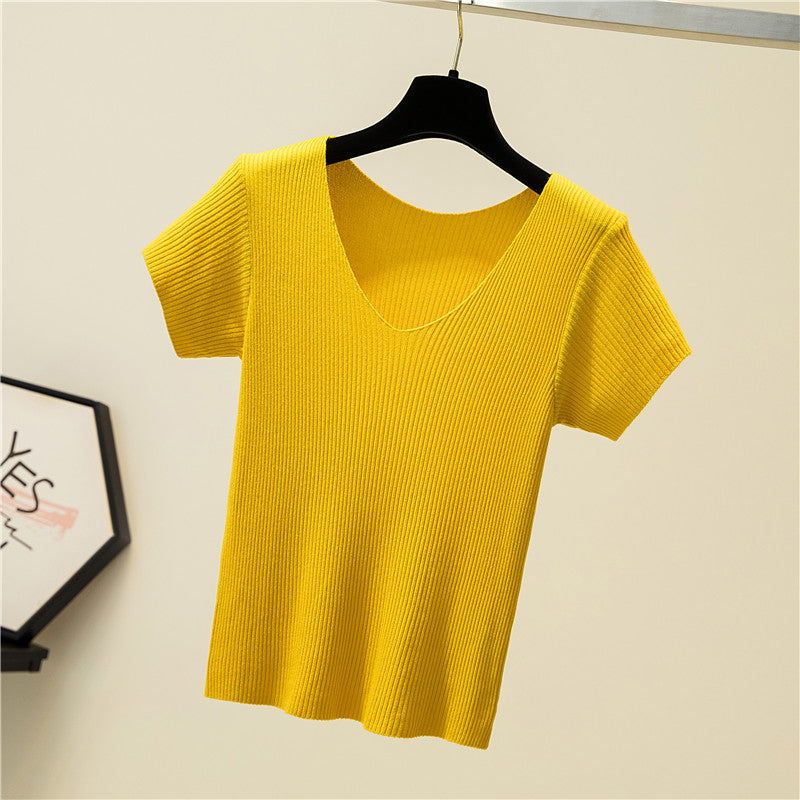V-Neck Silk T-shirt