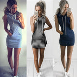 Sleeveless slim hooded skirt