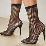 PVC Fashion Transparent Mesh Sock Heels