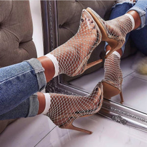 Pointed Toe Fishnet Heels